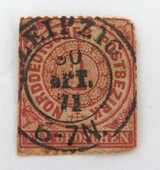 NORTH GERMANY CONFEDERATION c1868 1kr USED STUCK STAMP