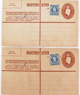 2 x c1940 UNUSED AUSTRALIAN REGISTERED LETTER COVERS, HAND AMENDED, 3 1/2d