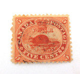 CANADA c1859 BEAVER 5c VERY LIGHT CANCEL HINGED STAMP.