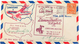 1938 LEWISTOWN, MONTANA DEMONSTRATION / FIRST AIR MAIL FLIGHT 4 CACHETS COVER.