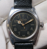 Vintage 1943 Rolex Oyster Steel Bubble Back Watch Ref 2940 with Orig Black Dial