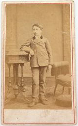 1800s RENOWNED PHOTOGRAPHER SAMUEL HEER-TSCHUDI CDV of a BOY.