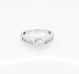 0.67ct H Si Diamond Set 14k White Gold Ladies Solitaire Ring Size L Val $3070