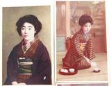 SET of 4 VINTAGE JAPANESE GEISHA GIRL UNUSED COLOUR POSTCARDS.