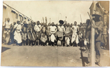 EARLY 1900s SOUTH AFRICAN REAL PHOTO POSTCARD. ARMED INDIGENOUS GATHERING.