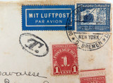 1938 NORDDEUTSCHER LLOYD SHIPPING SHIP COVER GERMANY to FLORIDA + POSTAGE DUE.