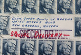 VERY UNUSUAL 1971 60 STAMP SPECIAL DELIVERY ENVELOPE, CIVIL COURT, QUEENS USA.