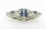 Art Deco Ceylon Sapphire & Diamond Gold + Palladium Double Clip Brooch Val 28040