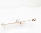Antique Handmade Opal & Old Cut Diamond 10ct Rose Gold Bar Brooch Val $3150