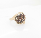 A Ladies Vintage 10K Yellow Gold Garnet Cluster Ring Size L Val $1355