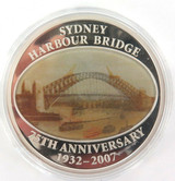 2007 COOK ISLANDS .925% SILVER 1oz COLOURED HOLOGRAM $1 PROOF. SYDNEY HARBOUR.