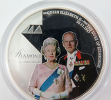 2007 .999% FINE SILVER 31.1g COLOURED $1 PROOF. QEII DIAMOND WEDDING + SPEC CARD