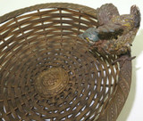 c1880 AUSTRIAN COLD PAINTED BRONZE BASKET with APPLIED PLASTER CAST BIRD.