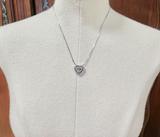 A 0.98cttw Two Tone Diamond Set 14K Gold Ladies Heart Pendant & Chain Val 3900