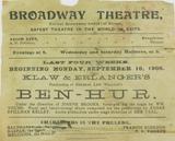"""SUPER RARE SEPT 1900 BROADWAY THEATRE, NY """"BEN HUR"""" PROGRAMME. AMERICANA!"""