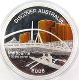 2006 .999% FINE SILVER 31.3g COLOURED $1 PROOF. DISCOVER AUSTRALIA + SPEC CARD