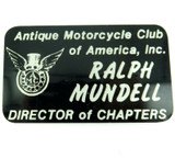 """""""ANTIQUE MOTORCYCLE CLUB OF AMERICA"""" DIRECTOR OF CHAPTERS JACKET BADGE."""