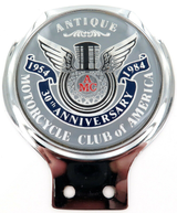 """""""ANTIQUE MOTORCYCLE CLUB OF AMERICA"""" 1954 - 1984 ANNIVERSARY GRILL BADGE."""