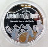1905 - 2005 .999% FINE SILVER 1oz COLOURED PROOF $1. AUSTRALIAN TENNIS OPEN.