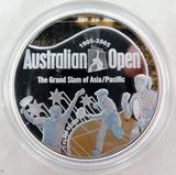 1905 - 2005 .999% FINE SILVER 1oz COLOURED PROOF $1. AUSTRALIAN TENNIS OPEN.