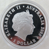 2005 .999% FINE SILVER 1oz COLOURED PROOF $1. COCOS KEELING 50TH ANNIVERSARY.