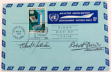 RARE 1968 UNITED NATIONS FDC AIR LETTER signed by DESIGNER of STAMP & the COVER.