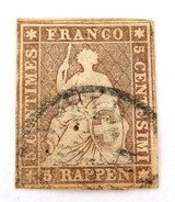 SWITZERLAND 1854 - 1862 5R IMPERF. G to VG USED HINGED CLASSIC STAMP.