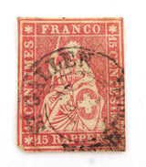 SWITZERLAND 1854 - 1862 15R IMPERF. G to VG USED HINGED CLASSIC STAMP.