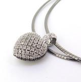Stunning Black & White Diamond Encrusted Pavé Set Sterling Silver Heart Pendant