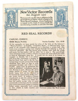 RARE AUGUST 1917, NEW VICTOR RECORDS CATALOGUE, ENRICO CARUSO, EFREM ZIMBALIST.