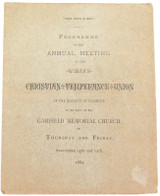 SCARCE 1884 CHRISTIAN TEMPERANCE UNION, DISTRICT of COLUMBIA AGM PROGRAMME