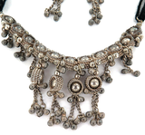 ELABORATE VINTAGE MATCHING SILVER NECKLACE / CHOKER & EARRING SET
