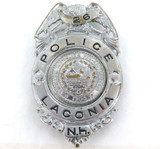 RARE OBSOLETE VINTAGE LACONIA POLICE NEW HAMPSHIRE LARGE POLICE BADGE.