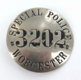 RARE OBSOLETE c1940s WORCESTER, MASSASCHUSETTS SPECIAL POLICE LARGE BADGE.