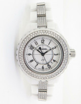 Chanel J12 Diamond Set Quartz 33m Ceramic Wrist Watch & Box H1420