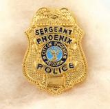 OBSOLETE VINTAGE USA PHOENIX ARIZONA POLICE SERGEANT METAL PIN BADGE #37
