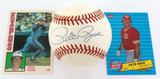 PETE ROSE, HAND SIGNED AUTOGRAPHED RAWLINGS BASEBALL + 2 CARDS. 100% GENUINE.
