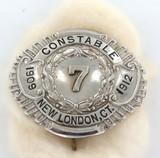 RARE OBSOLETE NEW LONDON CONNECTICUT U.S.A CONSTABLE 1909 1912 BADGE
