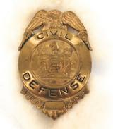 c1950s USA CIVIL DEFENSE ATOMIC AGE DUCK & COVER METAL BADGE.