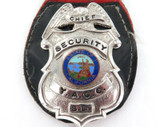 SUPER RARE OBSOLETE 1970s CHIEF SECURITY OFFICER Y.A.C.C. LARGE HEAVY SET BADGE.