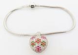 Chamilia Sterling Silver Bracelet & Heart Charm Jeweled Kaleidoscope