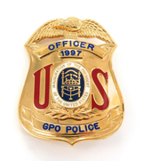 OBSOLETE 1997 USA PRESIDENTIAL INAUGURATION GPO POLICE OFFICER LARGE BADGE.