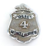 OBSOLETE CANADIAN MOUNT LAURIER POLICE 4 LARGE BADGE.