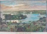 c1887 BOOKPLATE COLOUR ENGRAVING .. SYDNEY HARBOUR, FROM BELLE VUE HILL.