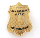 GOOD REPRODUCTION QUALITY USA SAN ANTONIO CITY PATROLMAN LARGE BADGE.