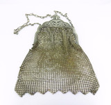 Antique Ornate Metallic Silver Gold Tone Mesh Whiting & Davis Co Bag 1920's