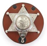 OBSOLETE RARE USA CALIFORNIA STATE SHERIFF LIFE MEMBERS LARGE BADGE + BELT CLIP.