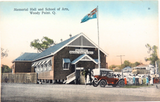 RARE EARLY 1900s WOODY POINT, QLD MEMORIAL HALL & SCHOOL OF ARTS RETRAC POSTCARD