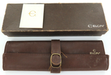 VINTAGE ELGIN MENS WATCH DISPLAY CASE + LEATHER STORAGE POUCH + BOOKLET.