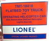 HUGE NEAR MINT LIONEL TMT-18418 FLATBED TRUCK & OPERATING HELICOPTER CAR.